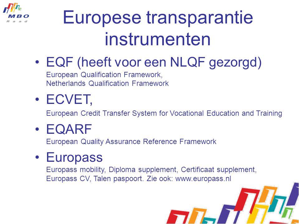 Europese transparantie instrumenten EQF (heeft voor een NLQF gezorgd) European Qualification Framework, Netherlands Qualification Framework ECVET, Eur