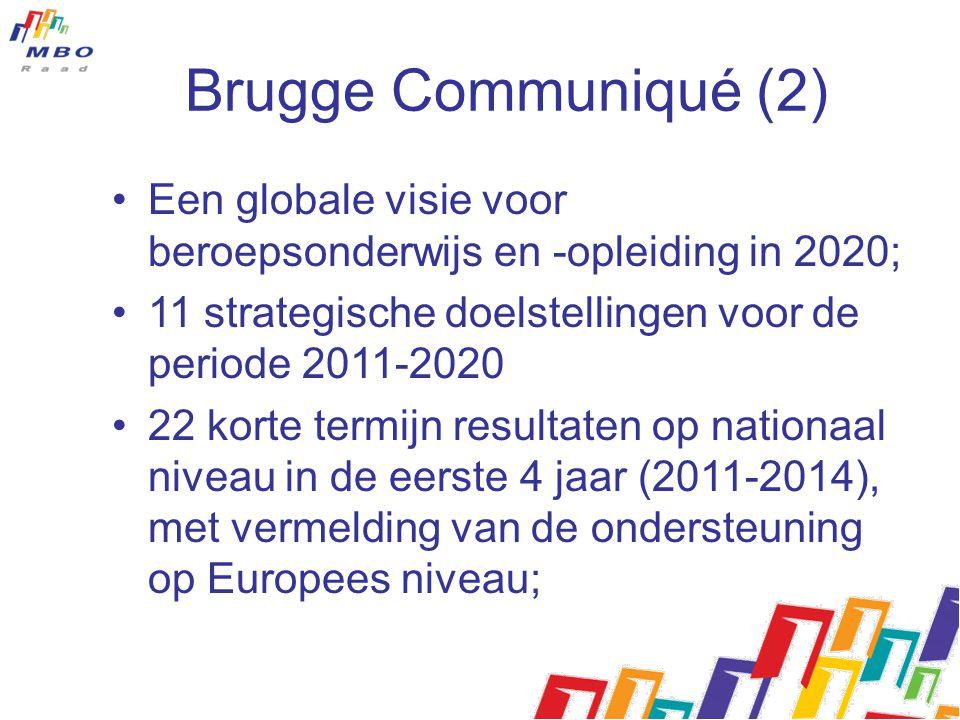 Brugge Communiqué (2) Een globale visie voor beroepsonderwijs en -opleiding in 2020; 11 strategische doelstellingen voor de periode 2011-2020 22 korte