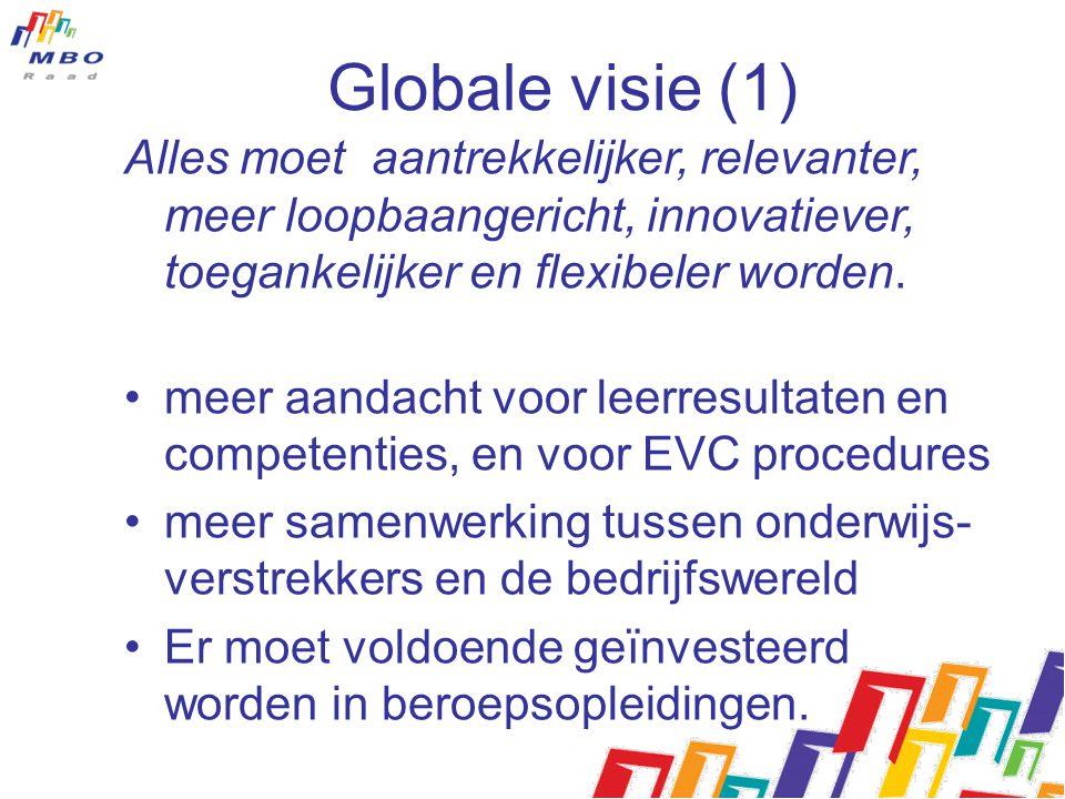Globale visie (2) Beroepsonderwijs als een volwaardig middel om beroep te leren, maar ook om competenties te verwerven om door te stromen naar vervolgopleidingen, eventueel in het hoger onderwijs Betere benutting van informatie over loopbaanperspectieven en behoeften van de arbeidsmarkt