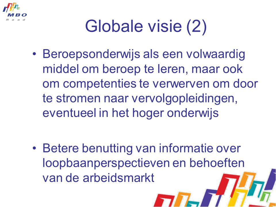 Globale visie (2) Beroepsonderwijs als een volwaardig middel om beroep te leren, maar ook om competenties te verwerven om door te stromen naar vervolg