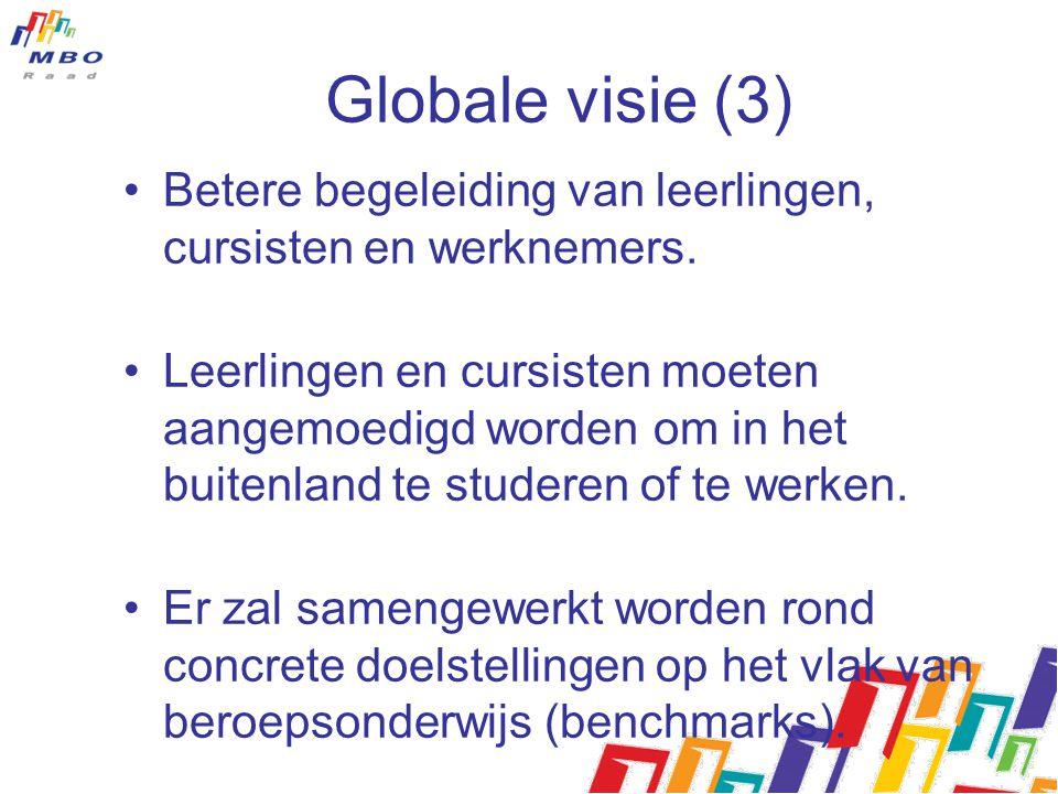Globale visie (3) Betere begeleiding van leerlingen, cursisten en werknemers. Leerlingen en cursisten moeten aangemoedigd worden om in het buitenland