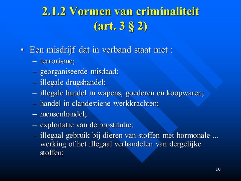 10 2.1.2 Vormen van criminaliteit (art.