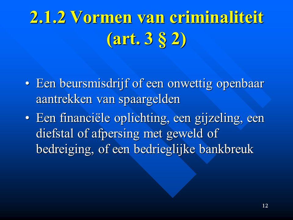 12 2.1.2 Vormen van criminaliteit (art.