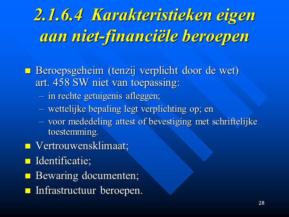 28 2.1.6.4Karakteristieken eigen aan niet-financiële beroepen Beroepsgeheim (tenzij verplicht door de wet) art.
