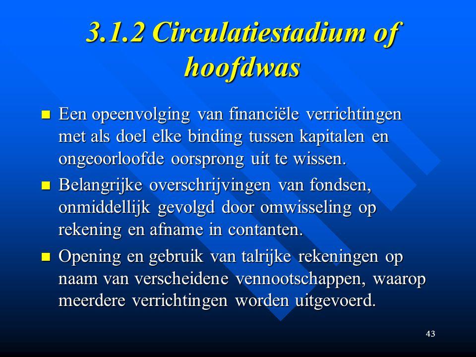 43 3.1.2 Circulatiestadium of hoofdwas Een opeenvolging van financiële verrichtingen met als doel elke binding tussen kapitalen en ongeoorloofde oorsprong uit te wissen.