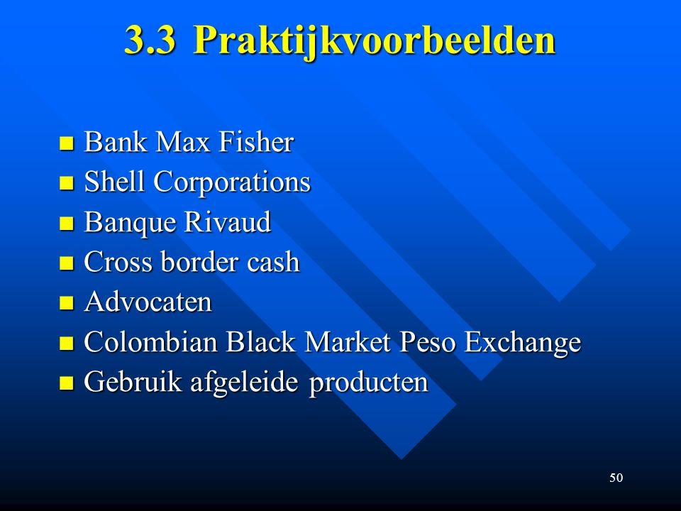 50 3.3Praktijkvoorbeelden Bank Max Fisher Bank Max Fisher Shell Corporations Shell Corporations Banque Rivaud Banque Rivaud Cross border cash Cross border cash Advocaten Advocaten Colombian Black Market Peso Exchange Colombian Black Market Peso Exchange Gebruik afgeleide producten Gebruik afgeleide producten