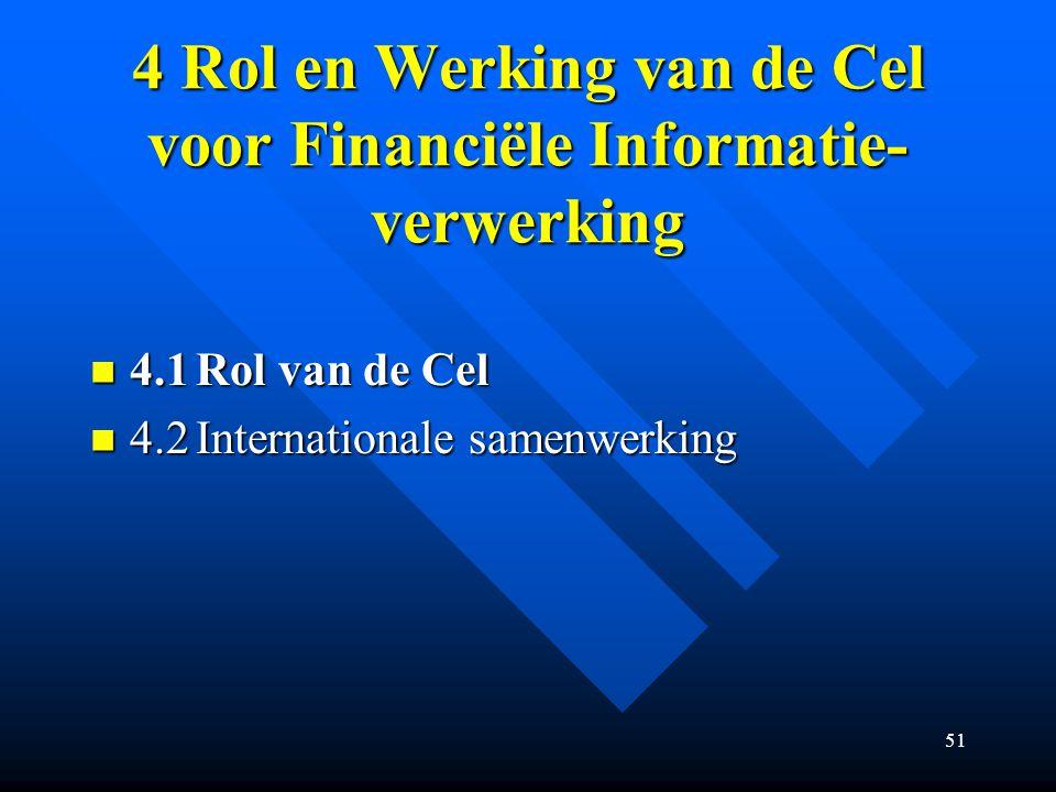 51 4 Rol en Werking van de Cel voor Financiële Informatie- verwerking 4.1Rol van de Cel 4.1Rol van de Cel 4.2Internationale samenwerking 4.2Internationale samenwerking