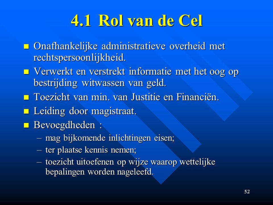 52 4.1Rol van de Cel Onafhankelijke administratieve overheid met rechtspersoonlijkheid.