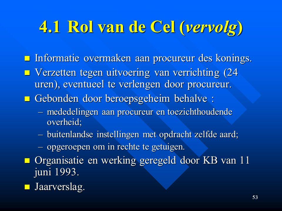 53 4.1Rol van de Cel (vervolg) Informatie overmaken aan procureur des konings.