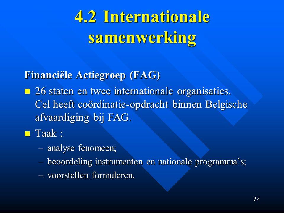 54 4.2Internationale samenwerking Financiële Actiegroep (FAG) 26 staten en twee internationale organisaties.
