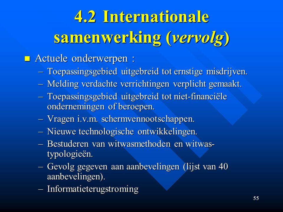 55 4.2Internationale samenwerking (vervolg) Actuele onderwerpen : Actuele onderwerpen : –Toepassingsgebied uitgebreid tot ernstige misdrijven.