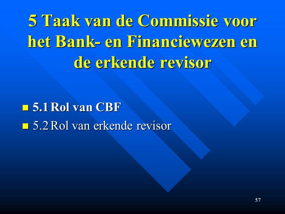 57 5 Taak van de Commissie voor het Bank- en Financiewezen en de erkende revisor 5.1Rol van CBF 5.1Rol van CBF 5.2Rol van erkende revisor 5.2Rol van erkende revisor