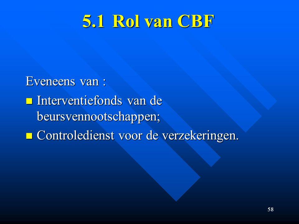 58 5.1Rol van CBF Eveneens van : Interventiefonds van de beursvennootschappen; Interventiefonds van de beursvennootschappen; Controledienst voor de verzekeringen.