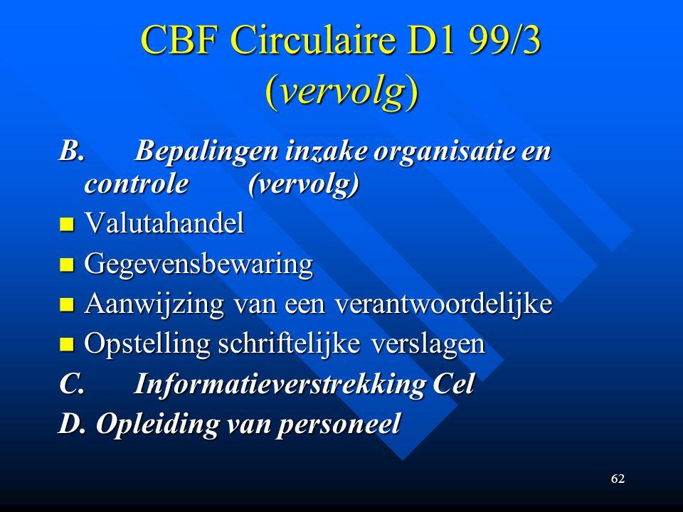 62 CBF Circulaire D1 99/3 (vervolg) B.