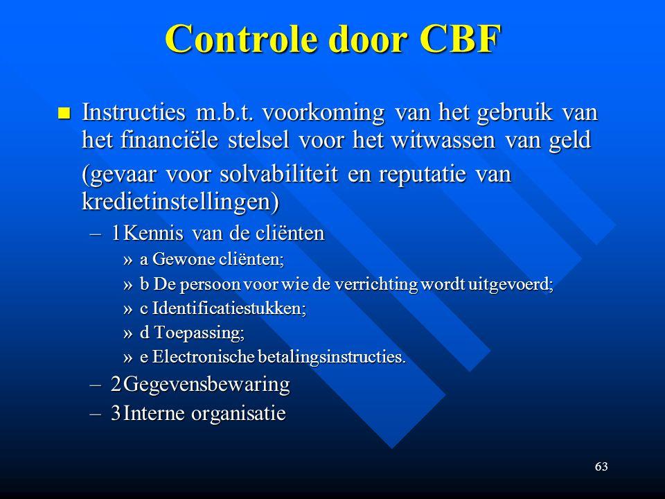 63 Controle door CBF Instructies m.b.t.