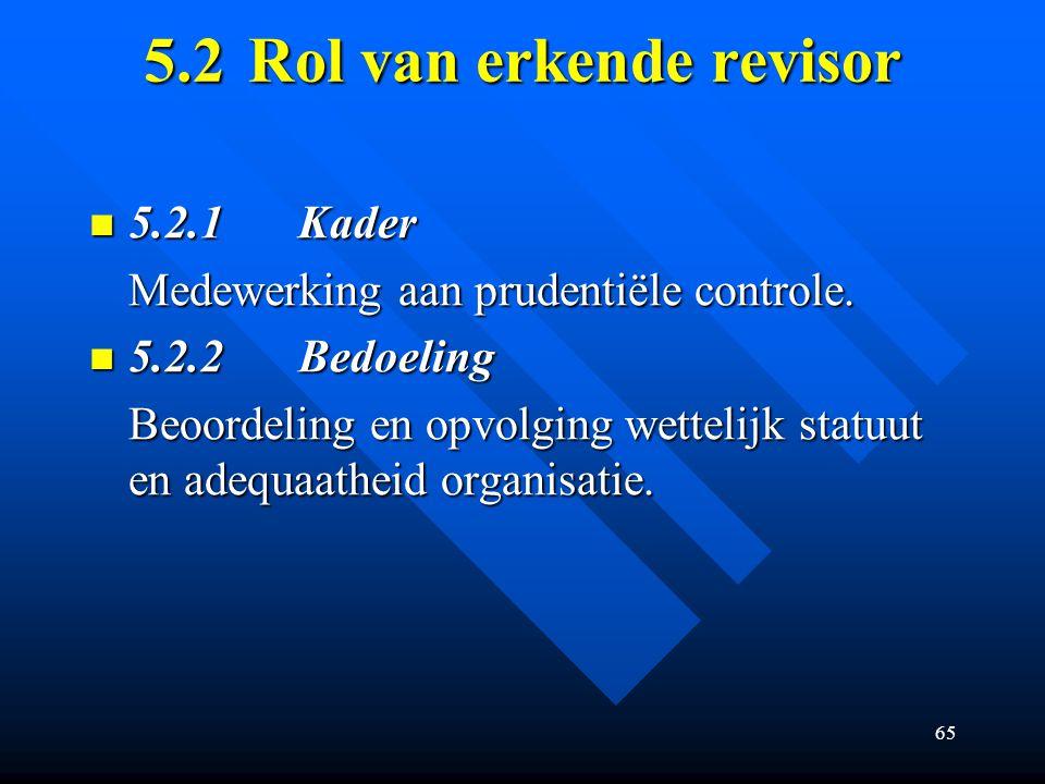 65 5.2Rol van erkende revisor 5.2.1Kader 5.2.1Kader Medewerking aan prudentiële controle.