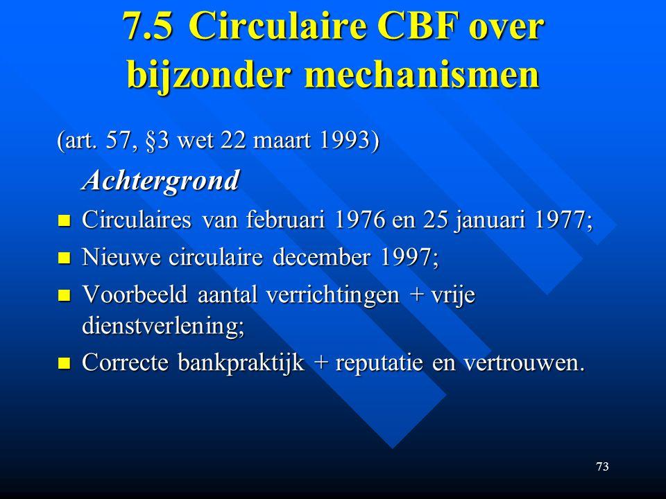 73 7.5Circulaire CBF over bijzonder mechanismen (art.