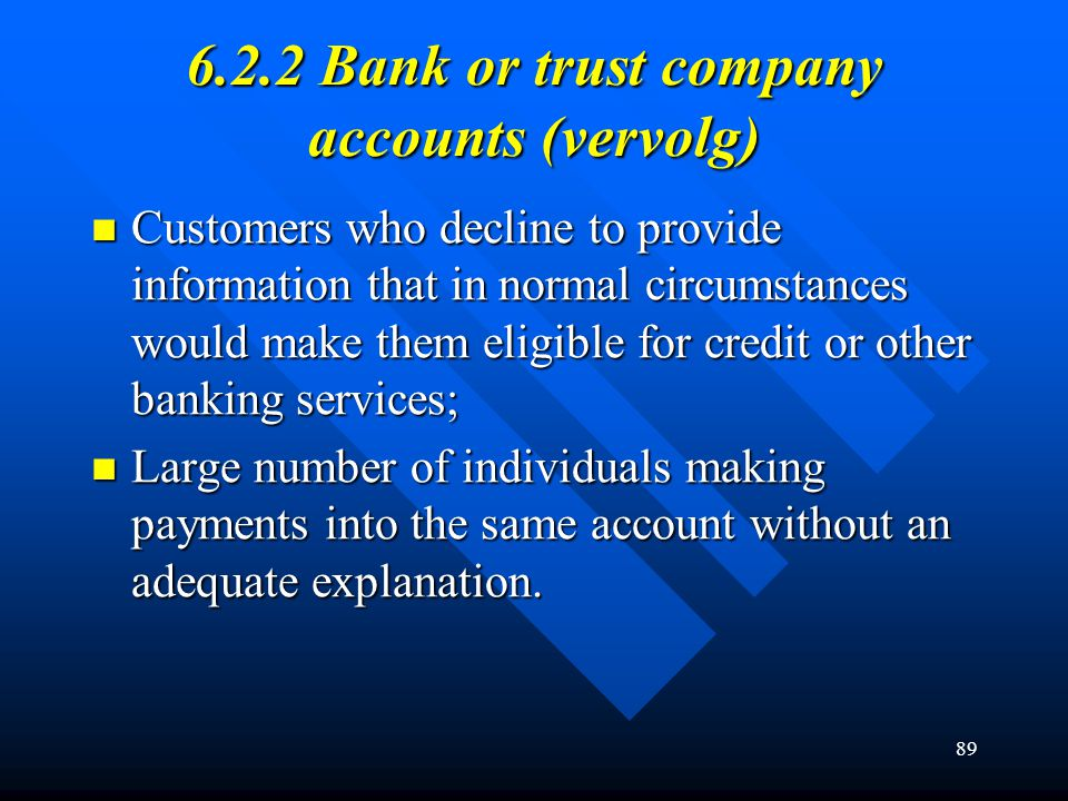 89 6.2.2 Bank or trust company accounts (vervolg) Customers who decline to provide information that in normal circumstances would make them eligible f