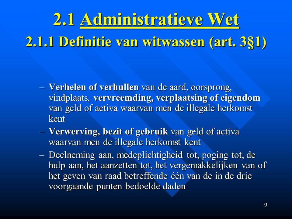 9 2.1 Administratieve Wet 2.1.1 Definitie van witwassen (art.