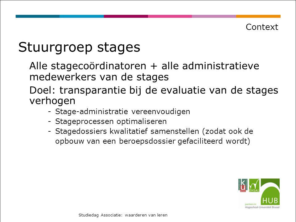 Proces Uitgangspunt 1: Elke opleiding richt een stagewerkgroep op die minstens 3x per academiejaar samenkomt (stagebegeleiders o.l.v.