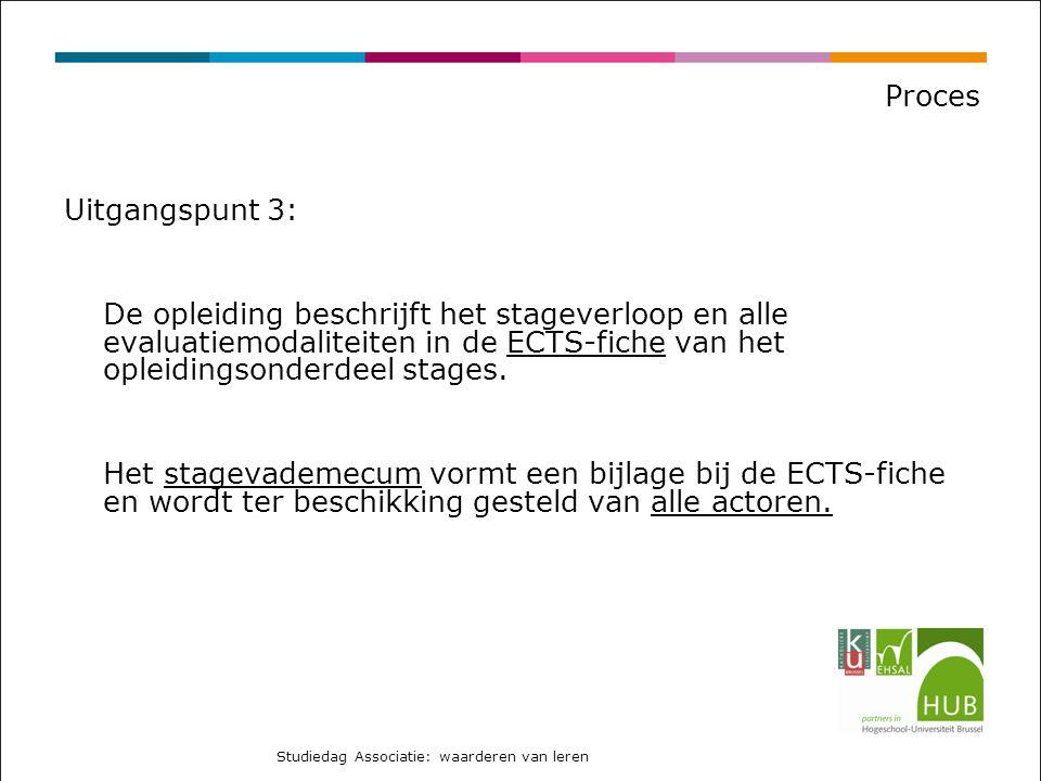 Proces Uitgangspunt 3: De opleiding beschrijft het stageverloop en alle evaluatiemodaliteiten in de ECTS-fiche van het opleidingsonderdeel stages.