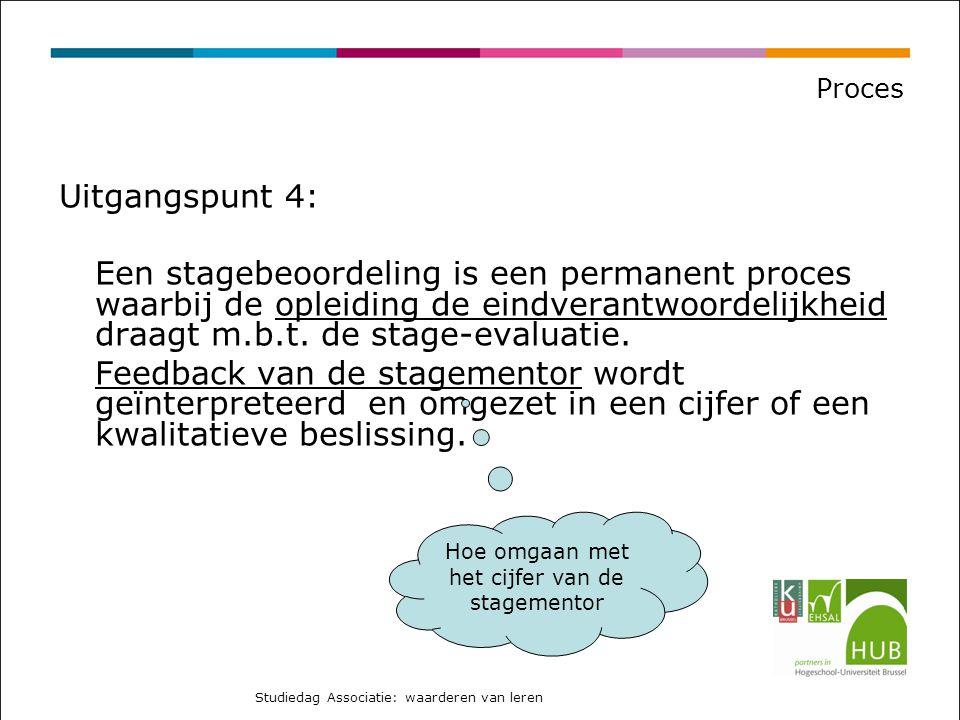 Proces Uitgangspunt 4: Een stagebeoordeling is een permanent proces waarbij de opleiding de eindverantwoordelijkheid draagt m.b.t.