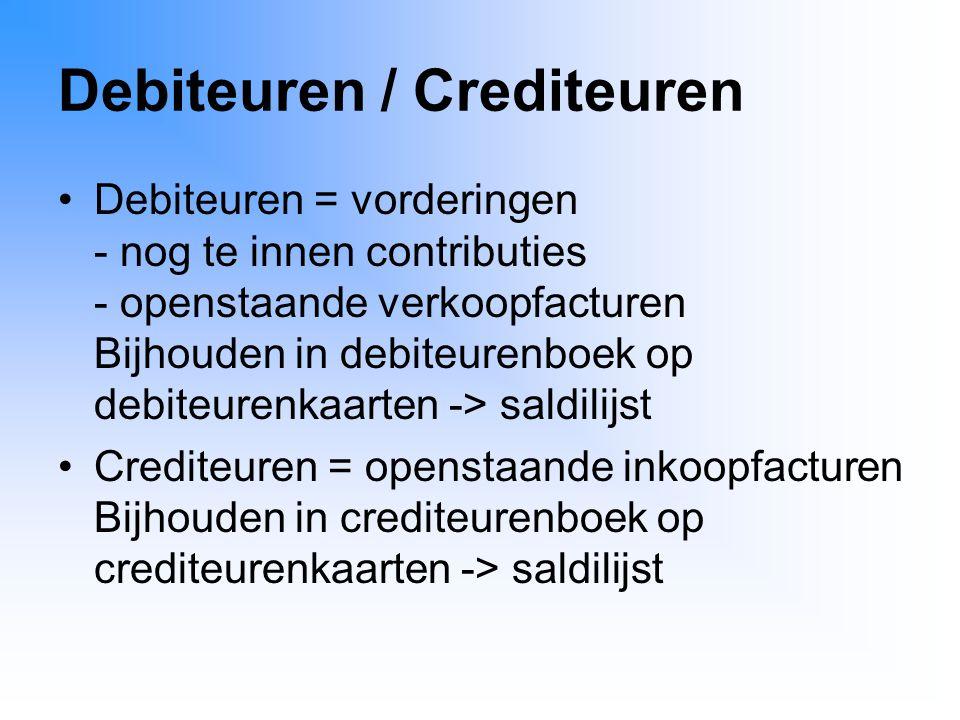 Debiteuren / Crediteuren Debiteuren = vorderingen - nog te innen contributies - openstaande verkoopfacturen Bijhouden in debiteurenboek op debiteurenk