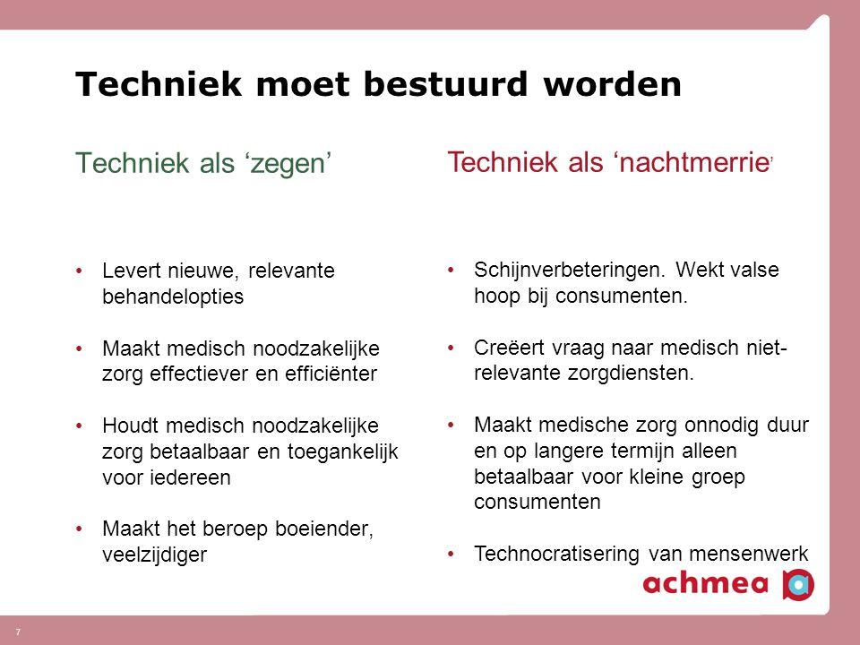7 Techniek moet bestuurd worden Techniek als 'zegen' Levert nieuwe, relevante behandelopties Maakt medisch noodzakelijke zorg effectiever en efficiënt