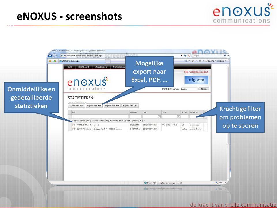 de kracht van snelle communicatie eNOXUS - screenshots Onmiddellijke en gedetailleerde statistieken Mogelijke export naar Excel, PDF,... Krachtige fil