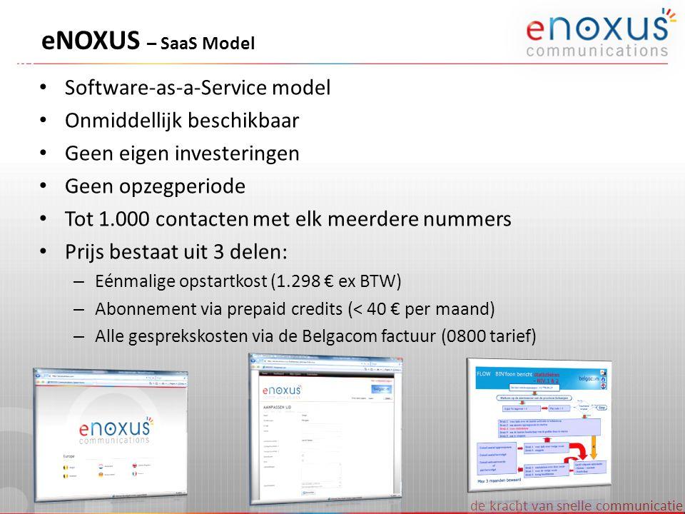 de kracht van snelle communicatie eNOXUS – SaaS Model Software-as-a-Service model Onmiddellijk beschikbaar Geen eigen investeringen Geen opzegperiode