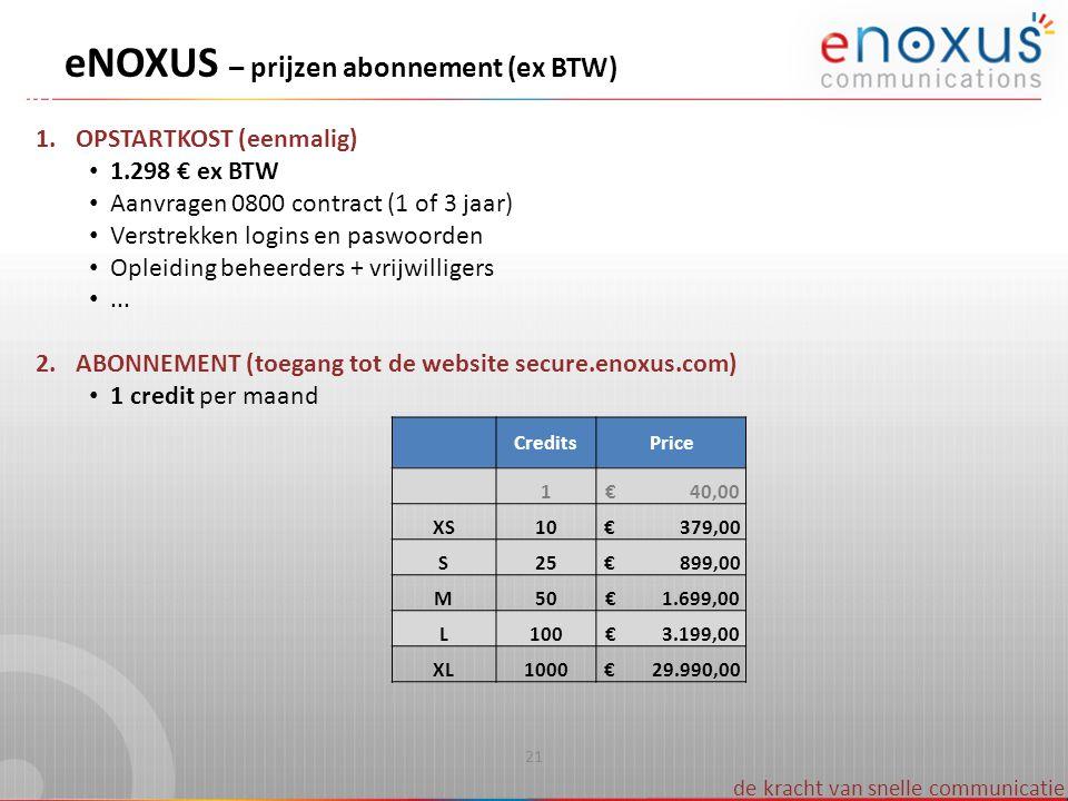 de kracht van snelle communicatie 1.OPSTARTKOST (eenmalig) 1.298 € ex BTW Aanvragen 0800 contract (1 of 3 jaar) Verstrekken logins en paswoorden Oplei