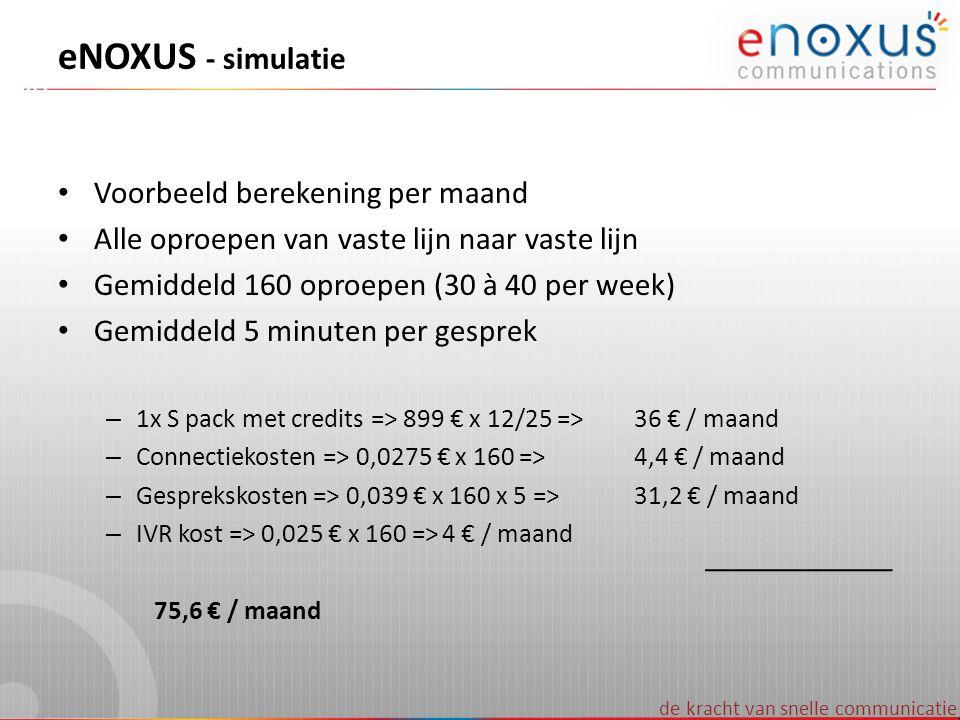 de kracht van snelle communicatie eNOXUS - simulatie Voorbeeld berekening per maand Alle oproepen van vaste lijn naar vaste lijn Gemiddeld 160 oproepe