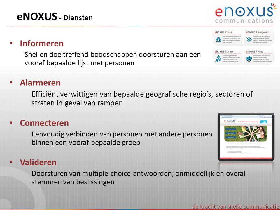 de kracht van snelle communicatie eNOXUS - Diensten Informeren Snel en doeltreffend boodschappen doorsturen aan een vooraf bepaalde lijst met personen