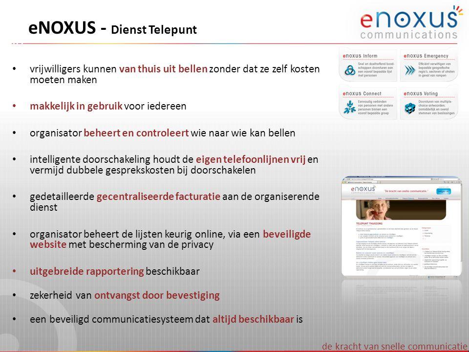 VoiceXML platform eNOXUS - Technisch overzicht Database en webserver zorgen voor makkelijk beheer van lijsten Aangesloten op internet via Belgacom EXPLORE voor meer veiligheid Onafhankelijke communicatiekanalen – PSTN, ISDN en GSM vanaf 08Q4 – eMAIL en SMS vanaf 09Q1 – FAX vanaf 09Q3 – VoIP vanaf 09Q4 –...