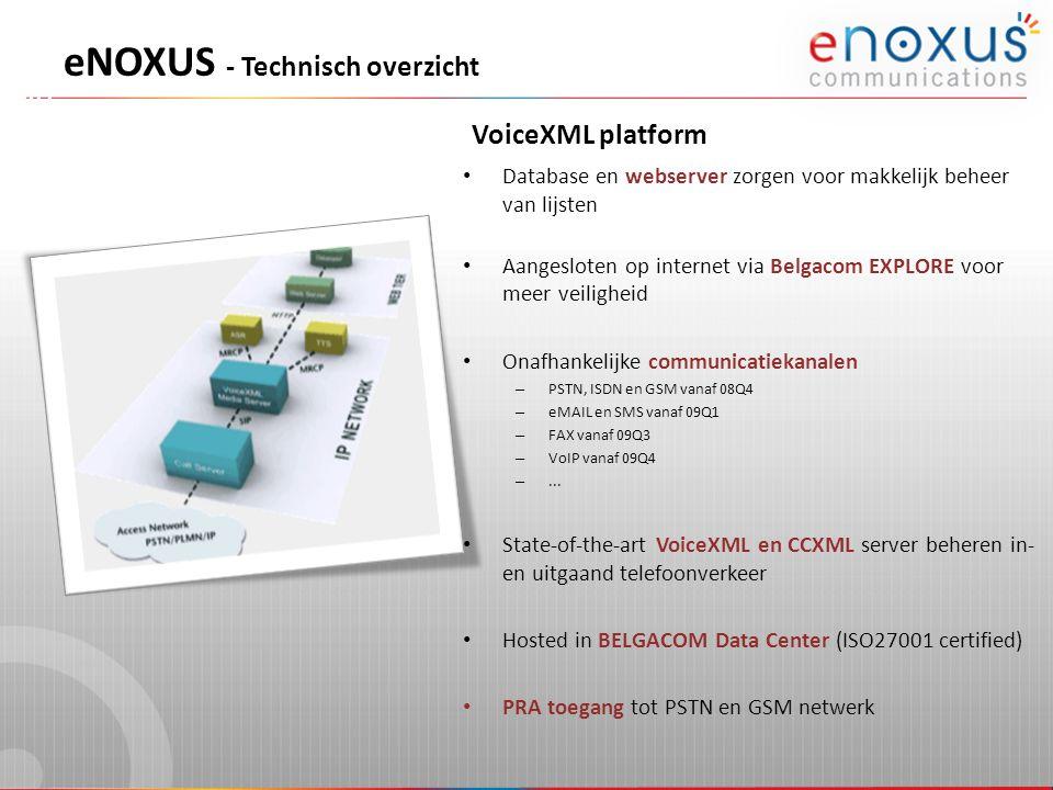 VoiceXML platform eNOXUS - Technisch overzicht Database en webserver zorgen voor makkelijk beheer van lijsten Aangesloten op internet via Belgacom EXP