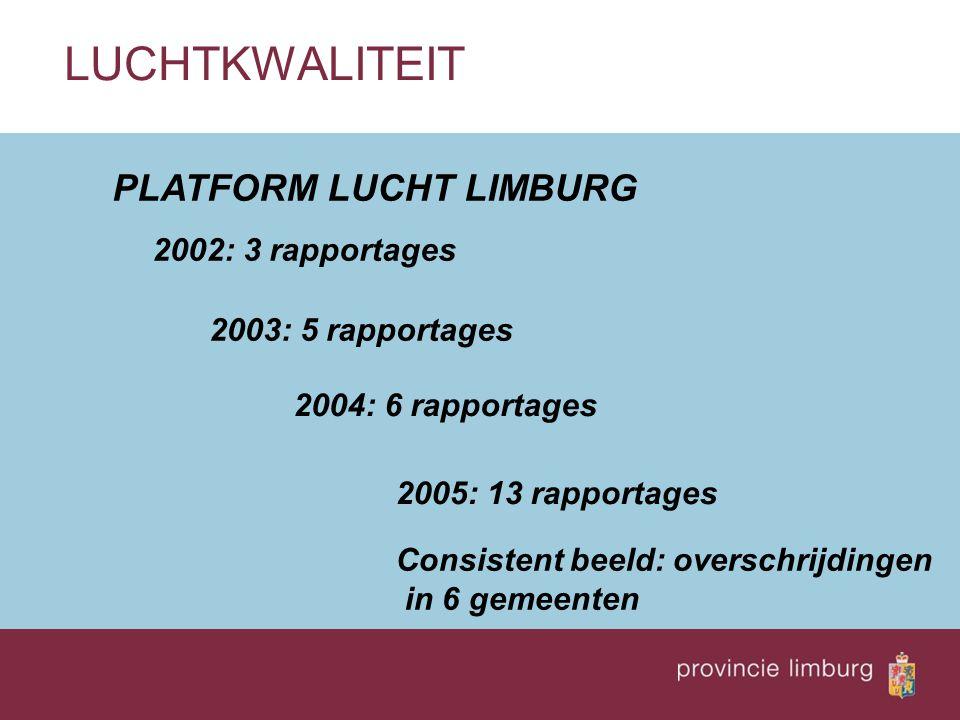 PLATFORM LUCHT LIMBURG LUCHTKWALITEIT 2002: 3 rapportages 2003: 5 rapportages 2004: 6 rapportages 2005: 13 rapportages Consistent beeld: overschrijdin