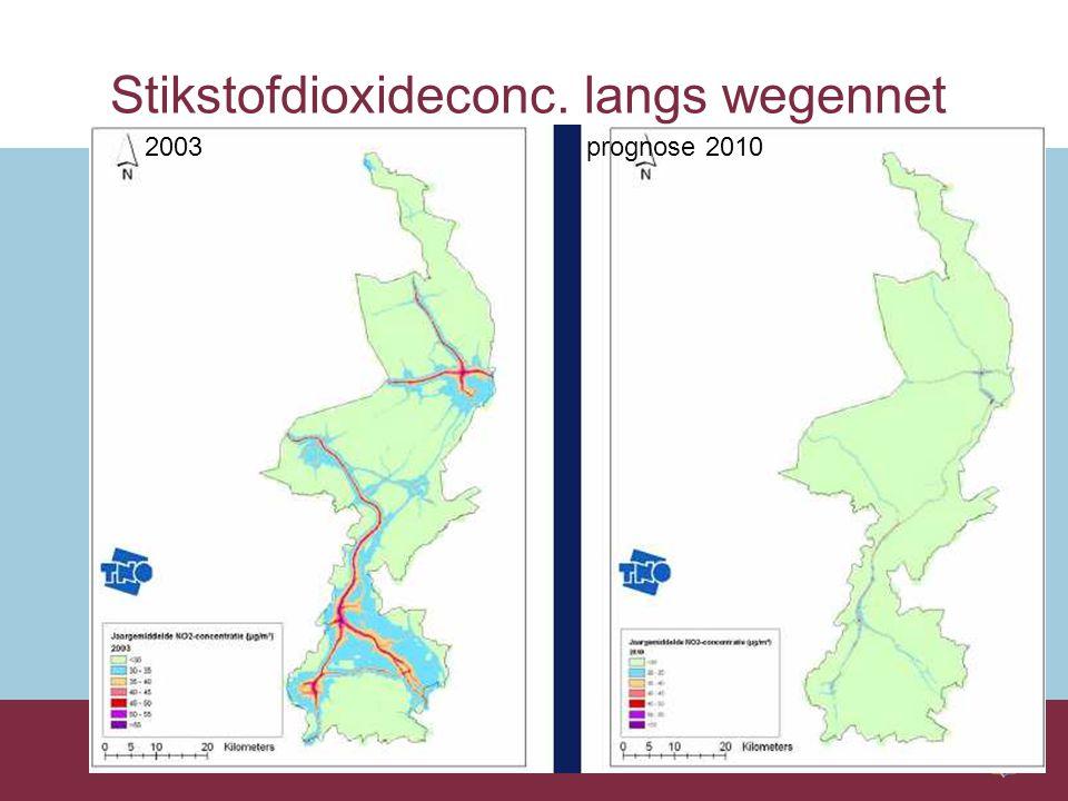 Stikstofdioxideconc. langs wegennet 2003 prognose 2010