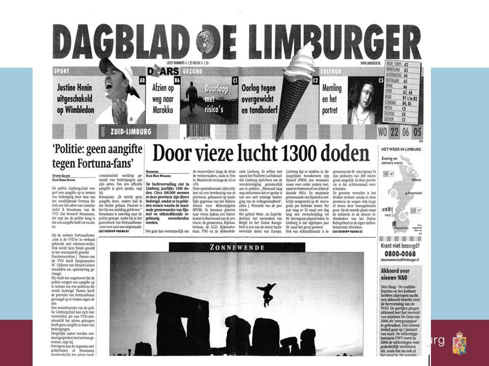 Mei/juni 2005: presentatie luchtkwaliteitskaarten 2003 LUCHTKWALITEIT Najaar 2005: oprichting Platform Lucht Limburg Begin 2006: start Platform Lucht Limburg Rapportage 2004 Start NSL-proces Begin 2007: Rapportage 2005 Inventarisatie gereed