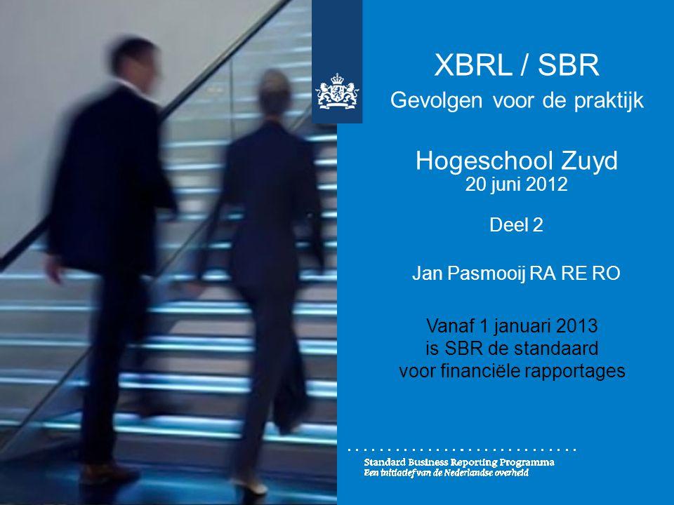 XBRL / SBR Gevolgen voor de praktijk Hogeschool Zuyd 20 juni 2012 Deel 2 Jan Pasmooij RA RE RO Vanaf 1 januari 2013 is SBR de standaard voor financiël