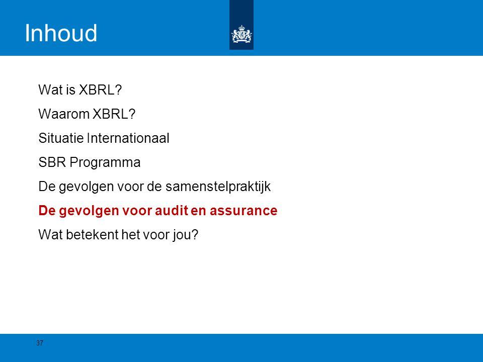 Inhoud Wat is XBRL? Waarom XBRL? Situatie Internationaal SBR Programma De gevolgen voor de samenstelpraktijk De gevolgen voor audit en assurance Wat b