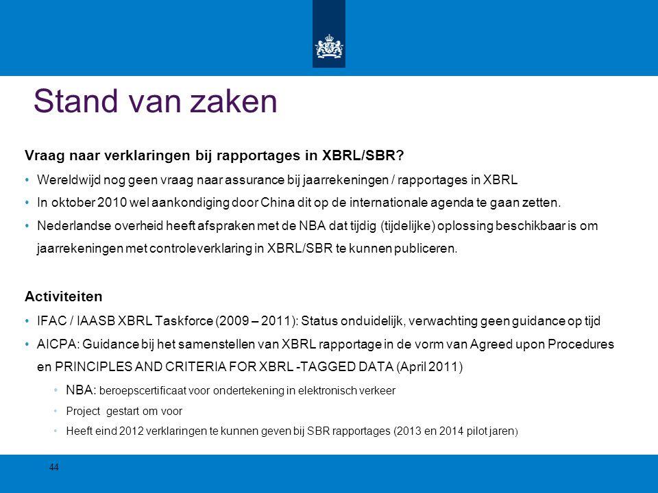 Stand van zaken Vraag naar verklaringen bij rapportages in XBRL/SBR? Wereldwijd nog geen vraag naar assurance bij jaarrekeningen / rapportages in XBRL