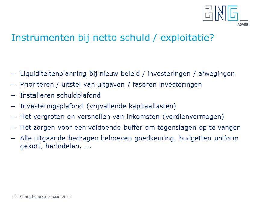 10 | Schuldenpositie FAMO 2011 Instrumenten bij netto schuld / exploitatie? – Liquiditeitenplanning bij nieuw beleid / investeringen / afwegingen – Pr