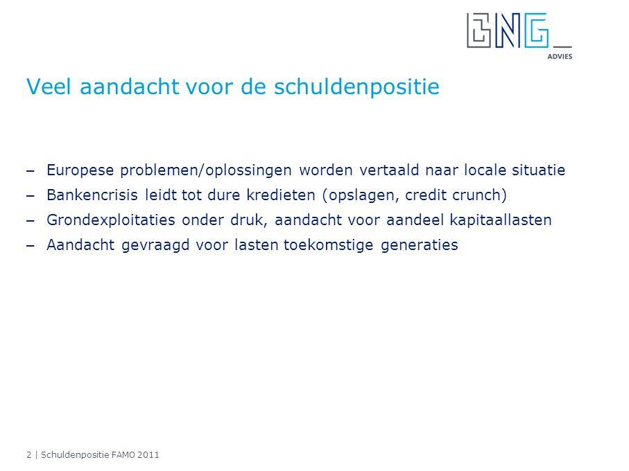 2 | Schuldenpositie FAMO 2011 Veel aandacht voor de schuldenpositie – Europese problemen/oplossingen worden vertaald naar locale situatie – Bankencris