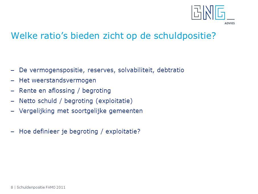 8 | Schuldenpositie FAMO 2011 Welke ratio's bieden zicht op de schuldpositie? – De vermogenspositie, reserves, solvabiliteit, debtratio – Het weerstan