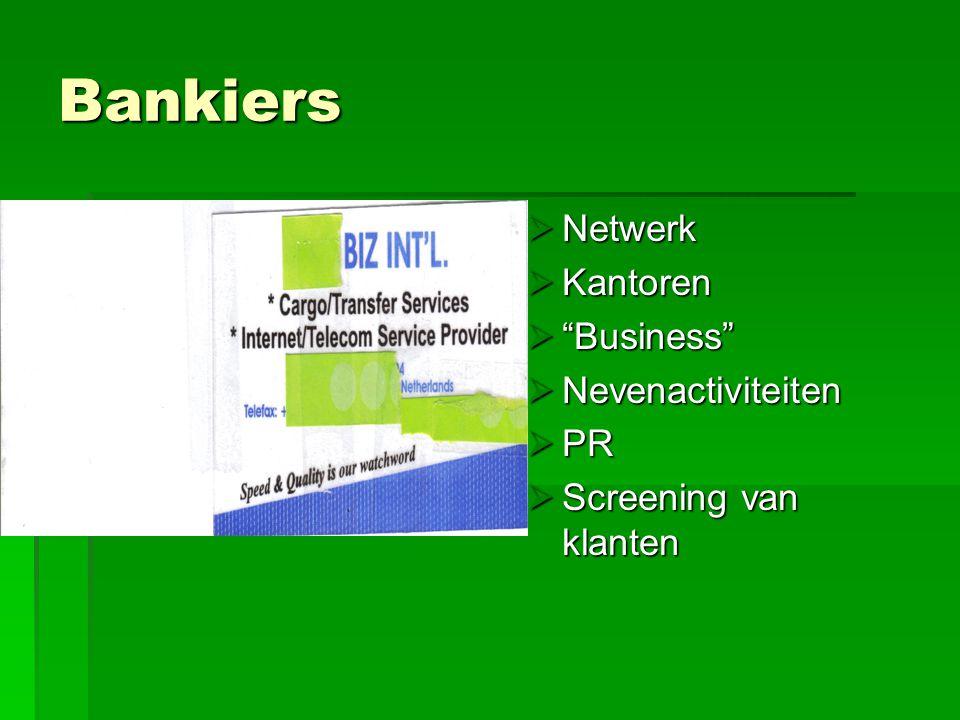 "Bankiers NNNNetwerk KKKKantoren """"""""Business"" NNNNevenactiviteiten PPPPR SSSScreening van klanten"