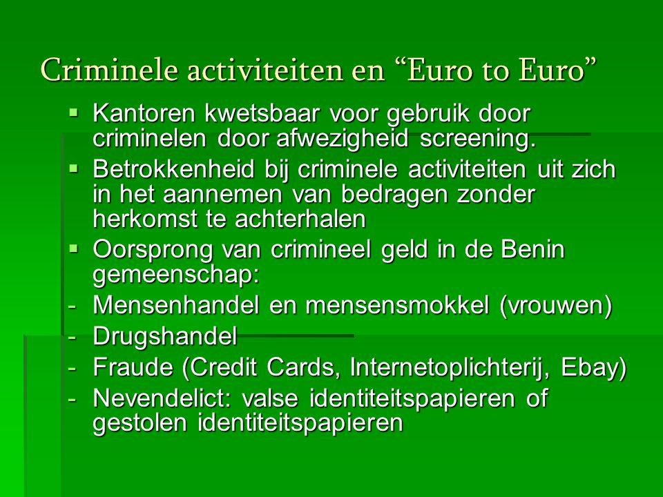 """Criminele activiteiten en """"Euro to Euro""""  Kantoren kwetsbaar voor gebruik door criminelen door afwezigheid screening.  Betrokkenheid bij criminele a"""