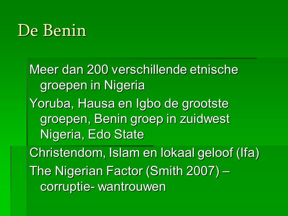Benin in Nederland  Nigeriaanse gemeenschap: in recente jaren gestegen (CBS) van 3.136 in 1996 naar 7.298 Nigerianen in 2004  In Nederland overwegend Christelijke Nigerianen (Yoruba, Igbo en Benin)  Grootste concentratie Amsterdam (967 in 2004 CBS) en daarna Den Haag (716).