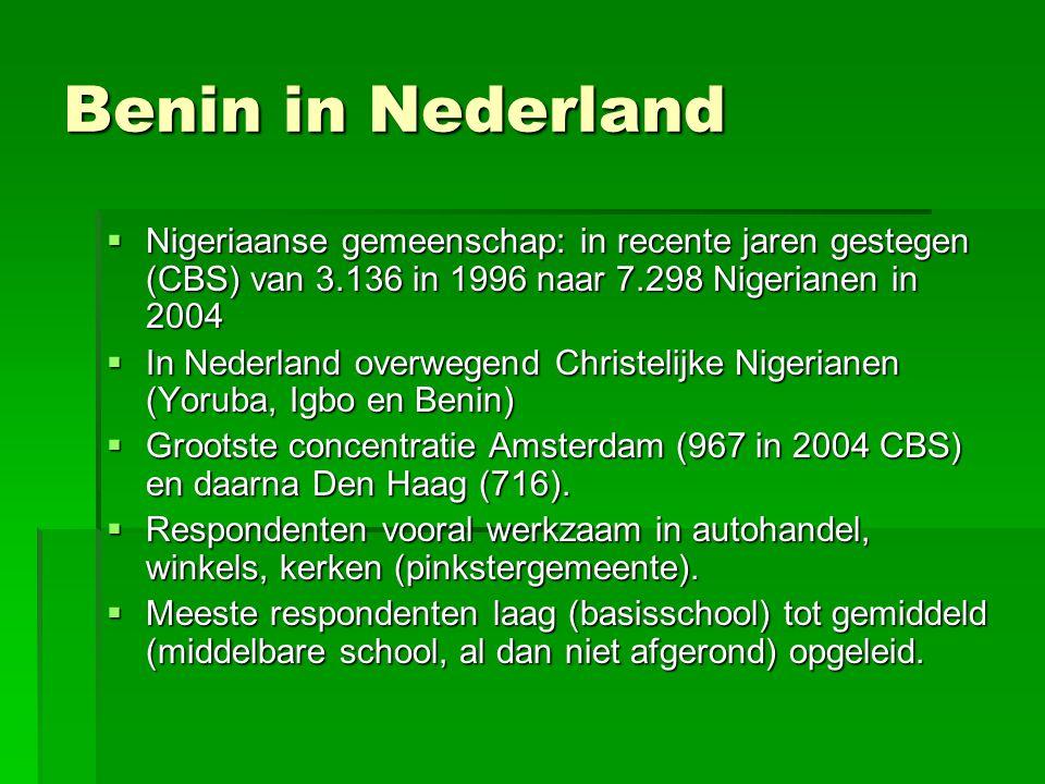 Benin in Nederland  Nigeriaanse gemeenschap: in recente jaren gestegen (CBS) van 3.136 in 1996 naar 7.298 Nigerianen in 2004  In Nederland overwegen