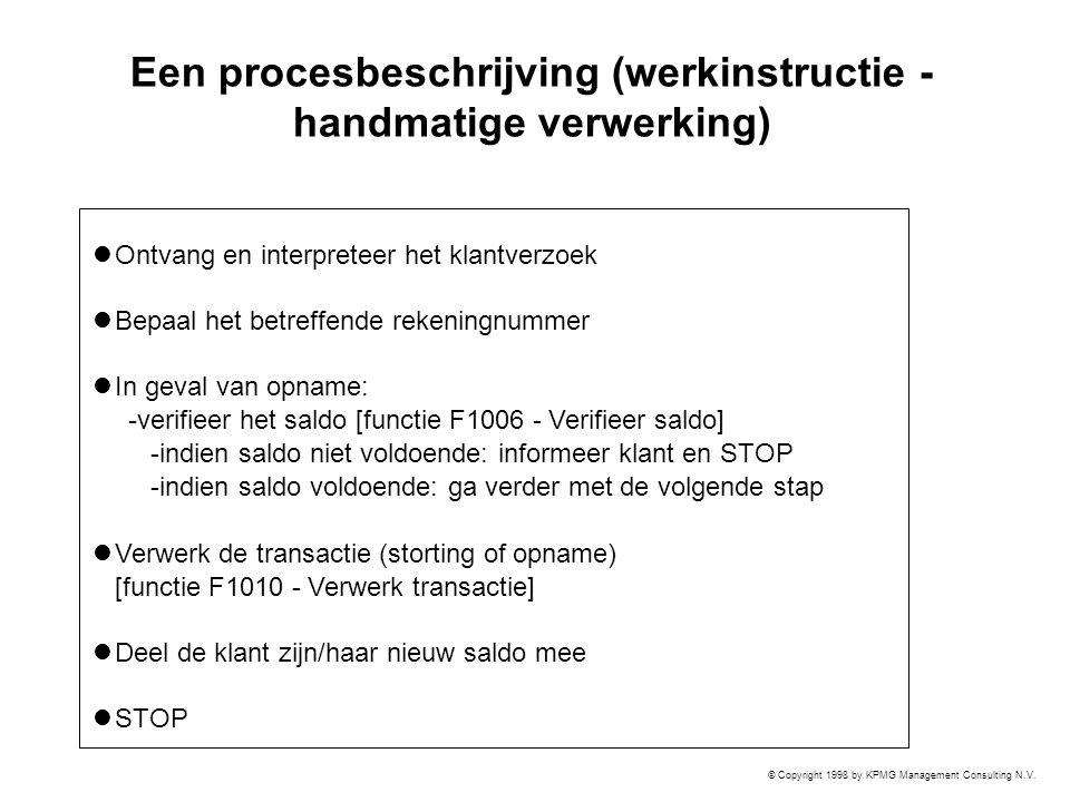 © Copyright 1998 by KPMG Management Consulting N.V. Een procesbeschrijving (werkinstructie - handmatige verwerking) Ontvang en interpreteer het klantv