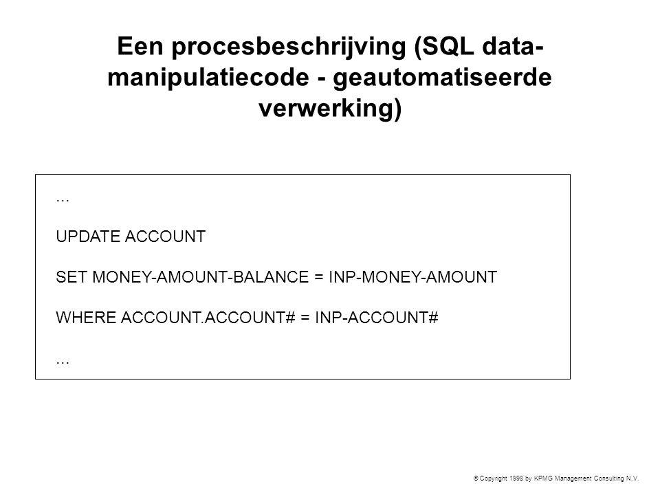 © Copyright 1998 by KPMG Management Consulting N.V. Een procesbeschrijving (SQL data- manipulatiecode - geautomatiseerde verwerking)... UPDATE ACCOUNT
